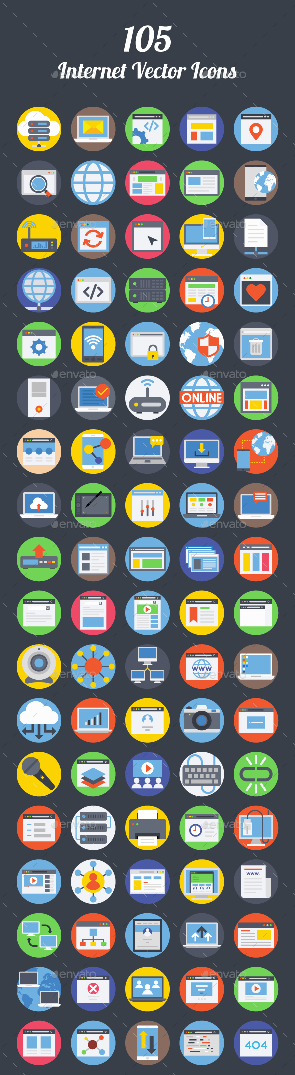 90 Internet Vector Icons - Icons