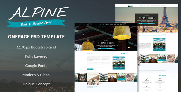 Alpine – Bed and Breakfast Onepage PSD Template