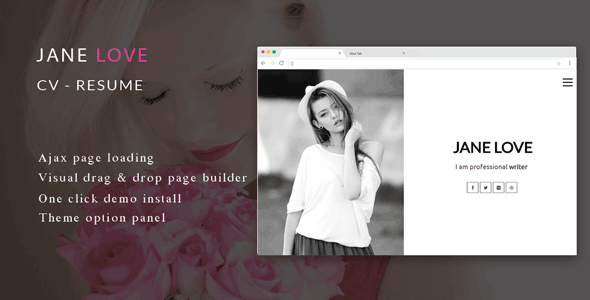 Jane Love - CV/Resume WordPress Theme