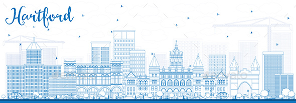 Outline Hartford Skyline with Blue Buildings - Buildings Objects