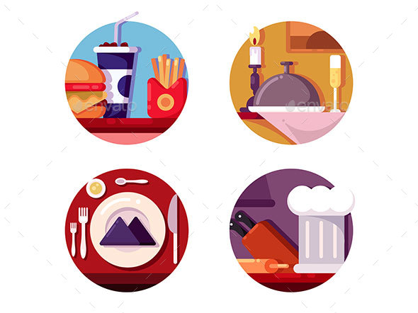 Meal in Cafe or Restaurant - Miscellaneous Vectors