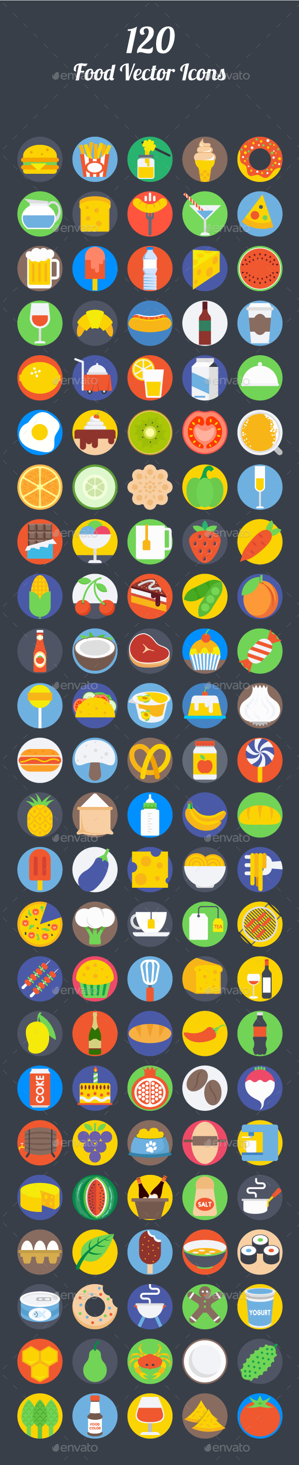 120 Food Vector Icons - Icons