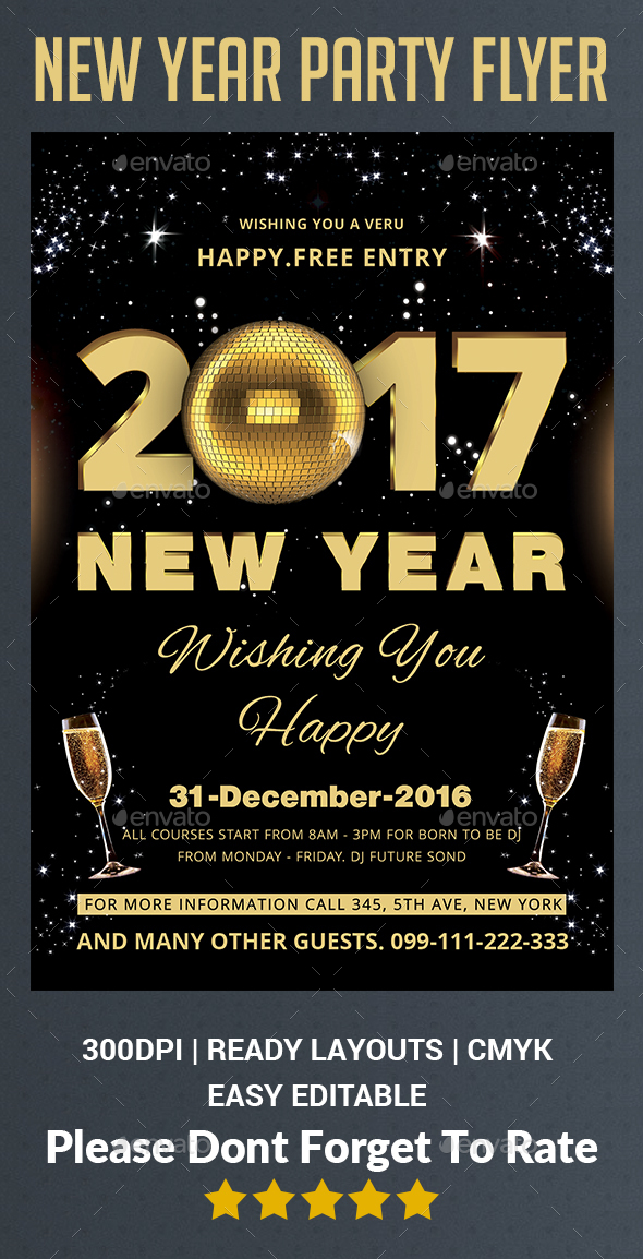 New Year Party Flyer Template | New Year Party Flyer Template By Afjamaal Graphicriver
