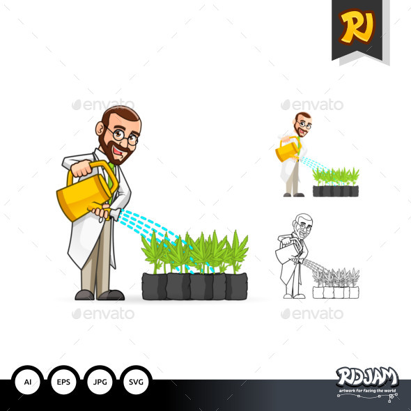 Plant Scientist Cartoon Character Watering The Plants - People Characters