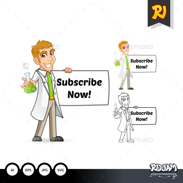 Scientist Cartoon Character Holding a Beaker and Banner - People Characters