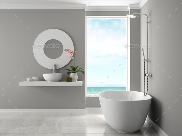 Interior of bathroom with sea view 3D rendering - Stock Photo - Images
