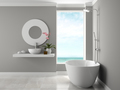 Interior of bathroom with sea view 3D rendering - PhotoDune Item for Sale
