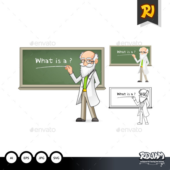 Scientist Cartoon Character Holding Chalk - People Characters