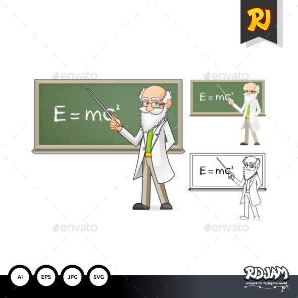 Scientist Cartoon Character Holding a Pointer Stick - People Characters
