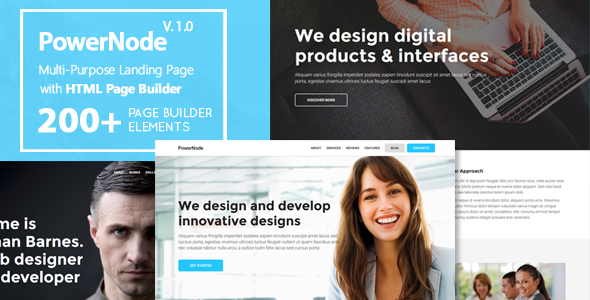 PowerNode – Multi-Purpose Landing Page With Page Builder