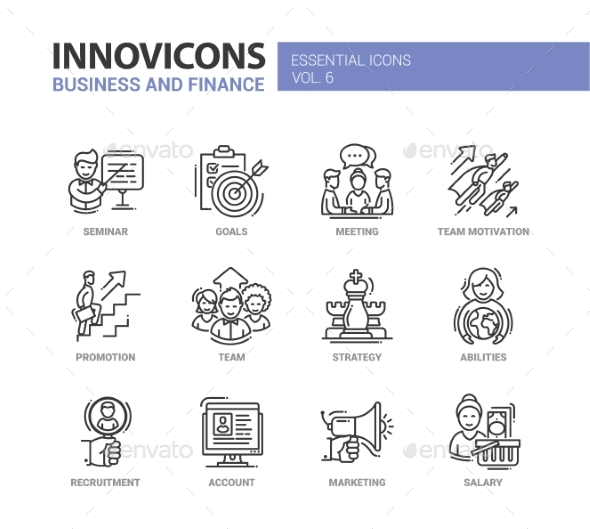 Business and Fnance Line Design Icons Set - Concepts Business