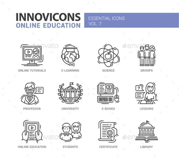 Online Education Line Design Icons Set - Web Technology
