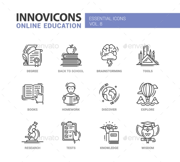 Online Education Line Design Icons Set - Miscellaneous Conceptual