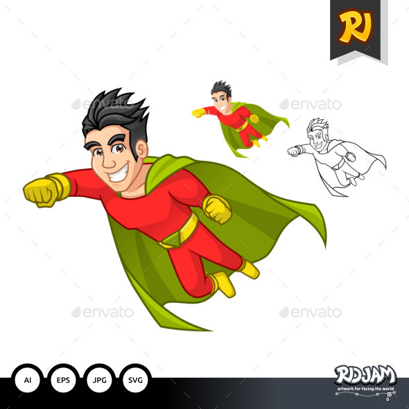 Super Hero Cartoon Character with Cape and Flying Pose - People Characters