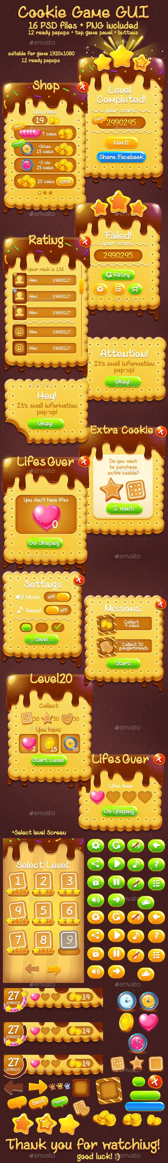 Chocolate Sweet Cookie Game GUI Set - User Interfaces Game Assets