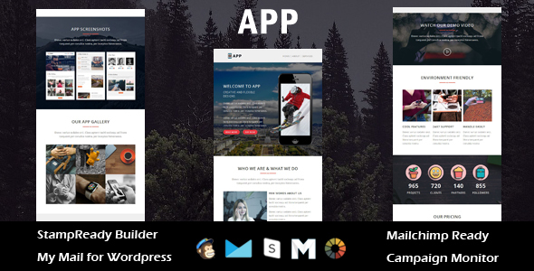 APP- Multipurpose Responsive Email Template + Stamp Ready Builder Access