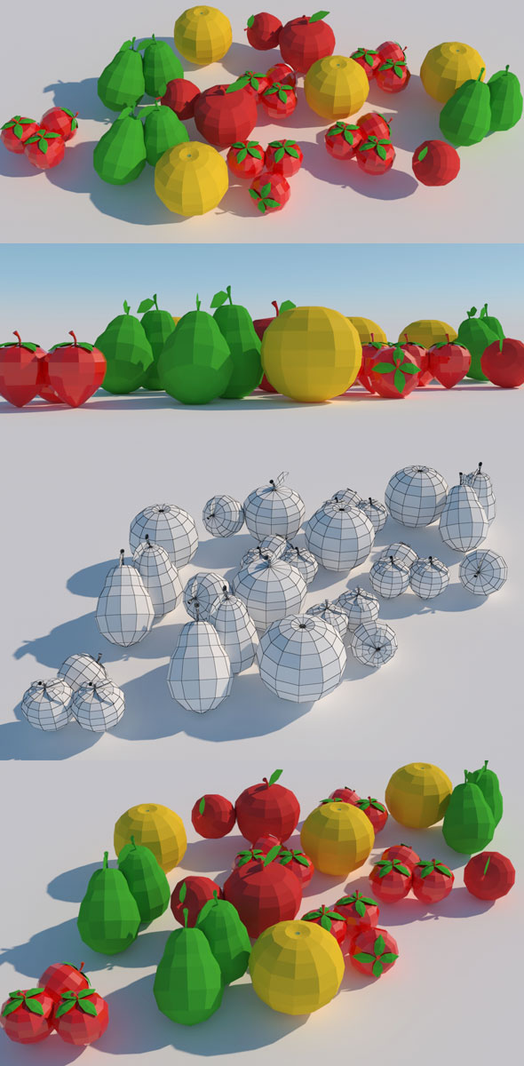 Low Poly Fruits Model - 3DOcean Item for Sale