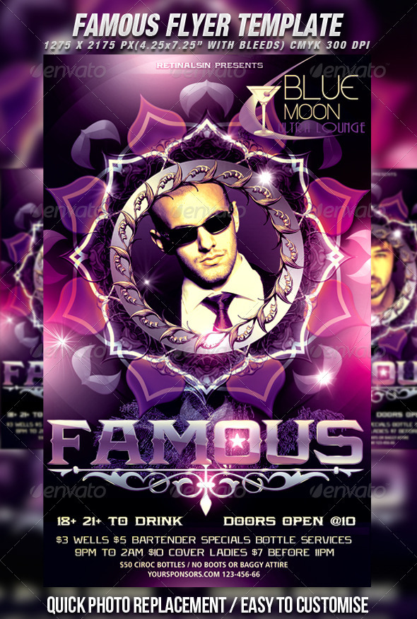 Famous Flyer Template - Clubs & Parties Events