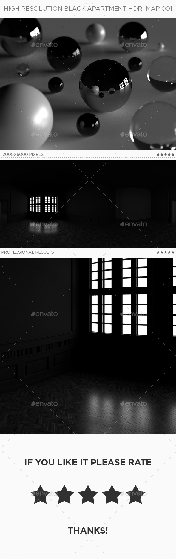 High Resolution Black Apartment HDRi Map 001 - 3DOcean Item for Sale