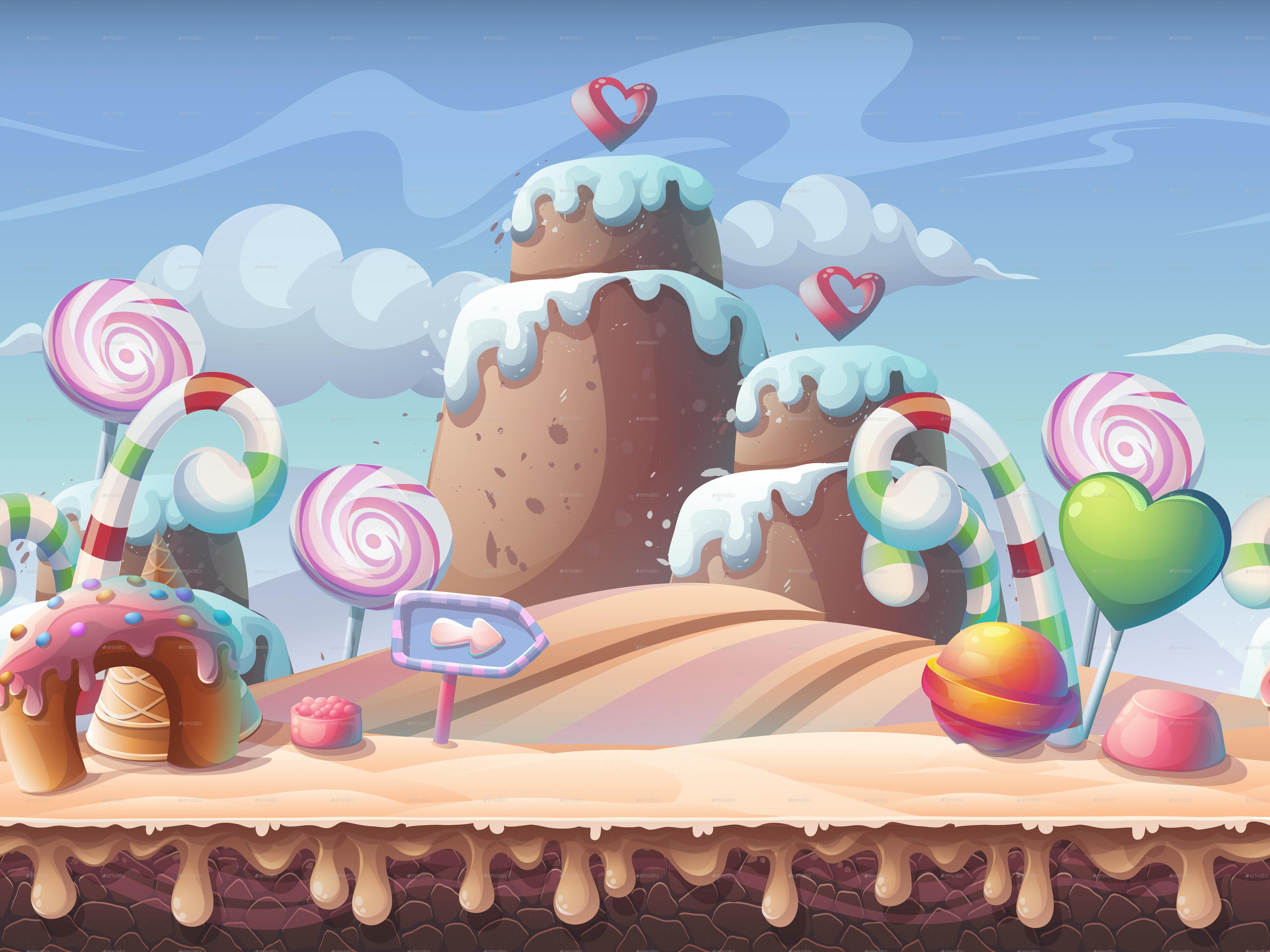 Candy World - Horizontal Seamless Illustration by ...