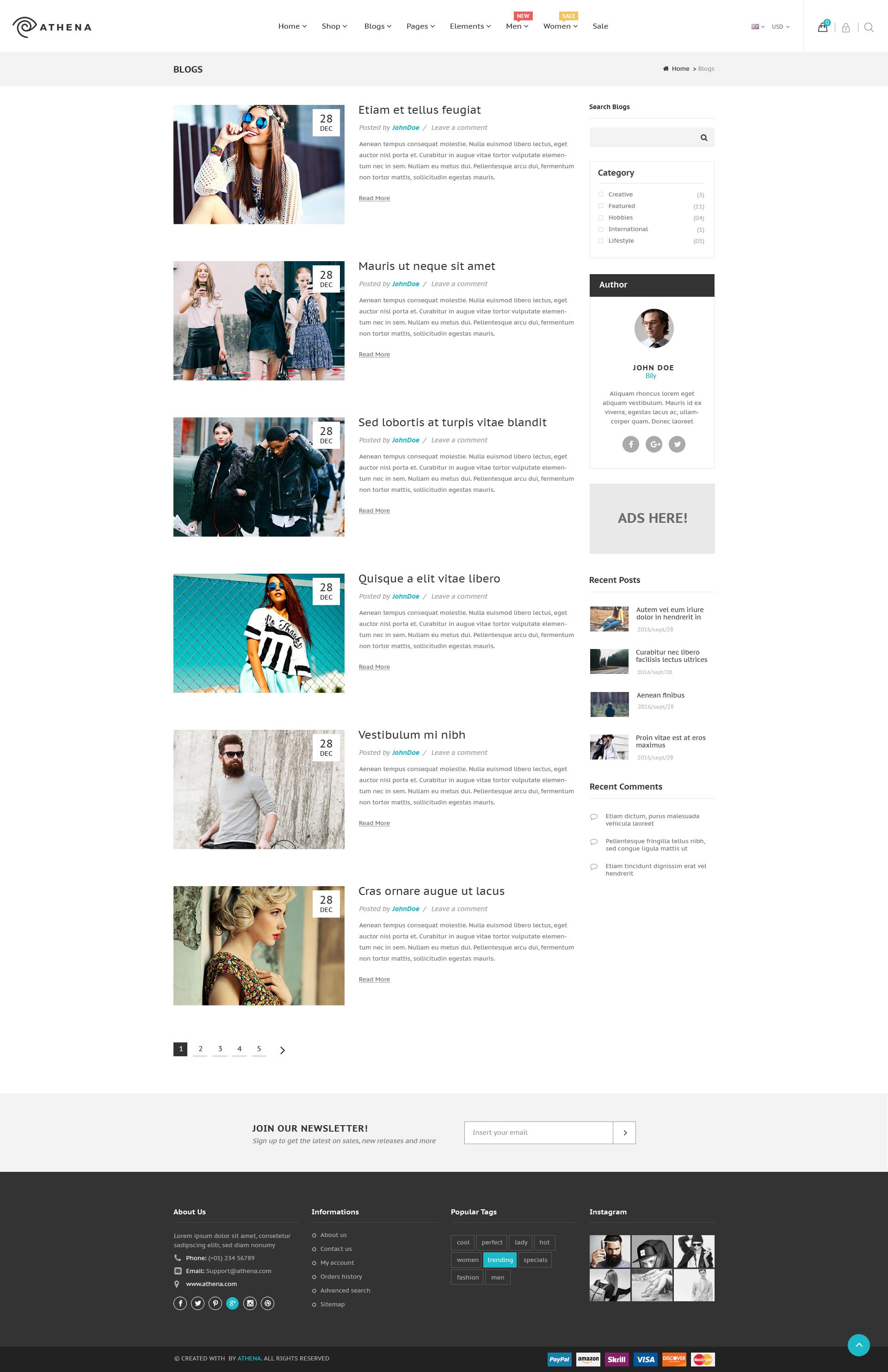 Athena - Fashion eCommerce PSD Template by bily | ThemeForest
