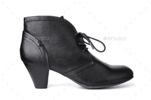 Single black leather women's shoe - Stock Photo - Images