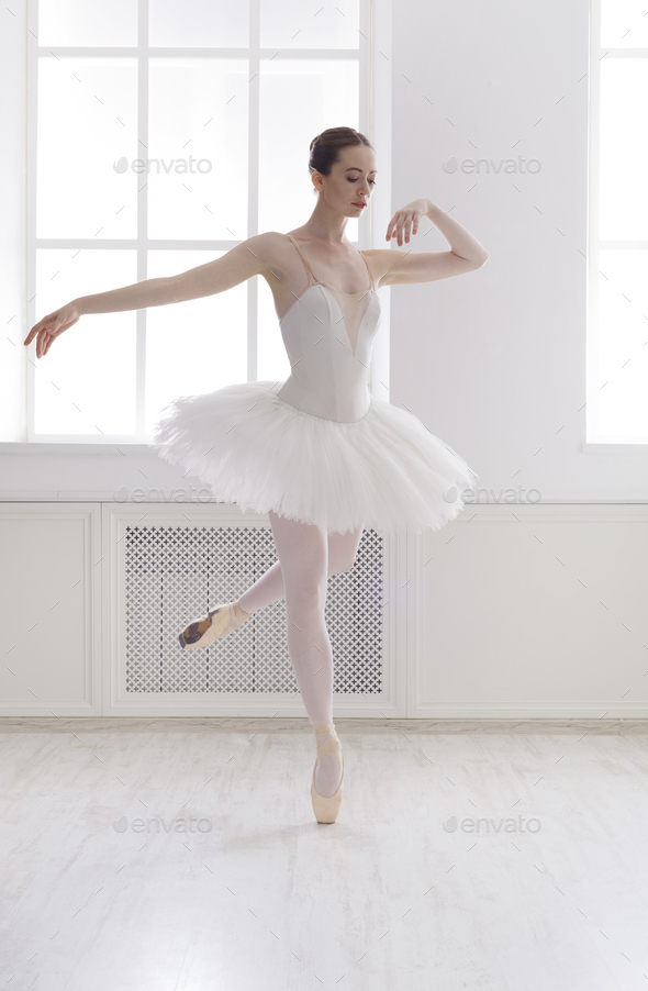 Beautiful Ballerine Dance In Ballet Position Stock Photo By Prostock Studio