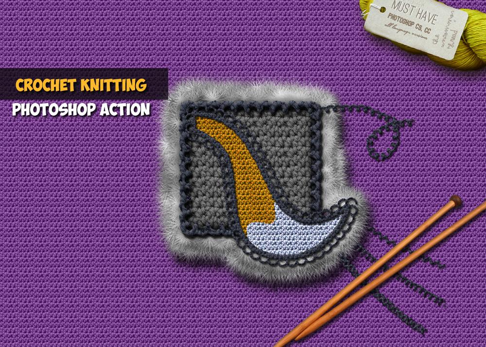 Crochet Knitting Effect Photoshop Action