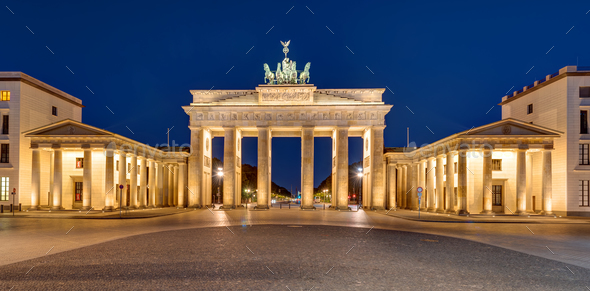 Panorama of the Brandenburger Tor at night - Stock Photo - Images