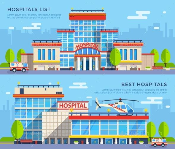 Hospital Flat Banners - Health/Medicine Conceptual