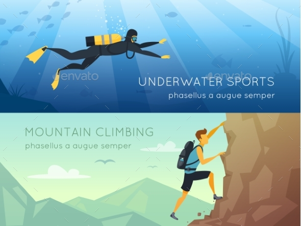 Extreme Sports 2 Flat Horizontal Banners - Sports/Activity Conceptual