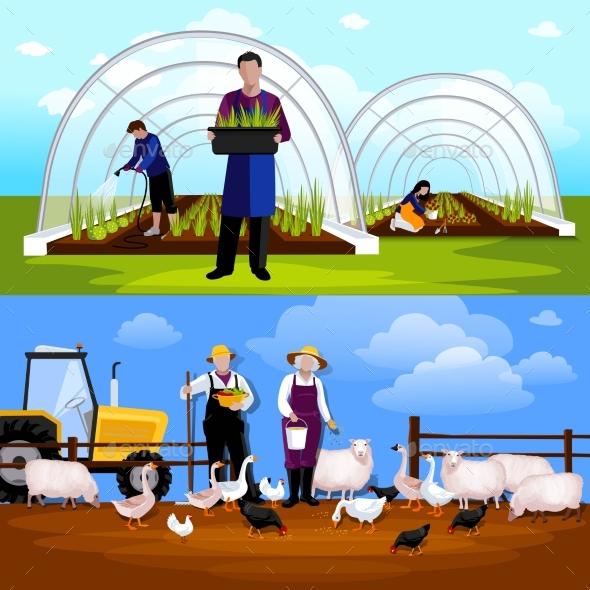 Farmers Gardeners 2 Horizontal Flat Banners Set - Miscellaneous Conceptual