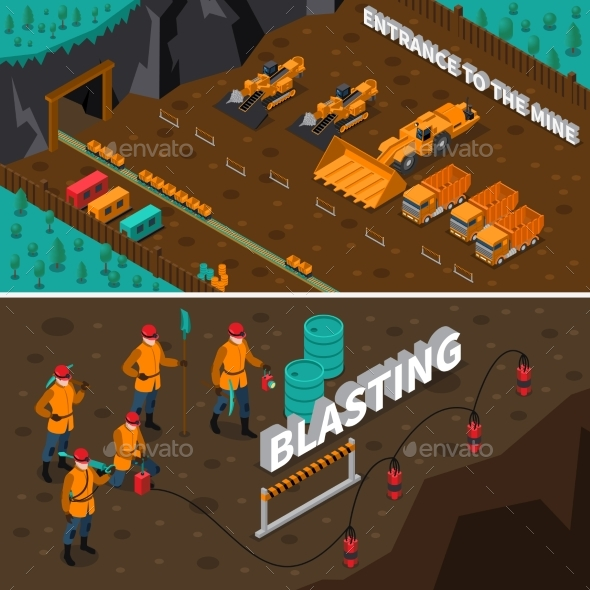 Miner People Isometric Banners - Industries Business