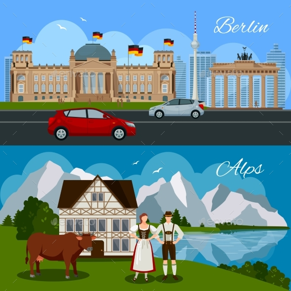 Germany Flat Composition - People Characters