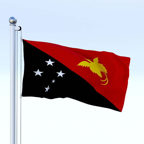 Animated Papua New Guinea Flag - 3DOcean Item for Sale