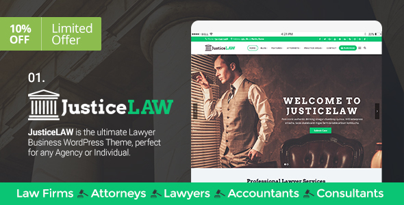 Lawyers/Law Firms, Attorneys, Consulting, Accounting & Business - JusticeLAW Theme - Business Corporate