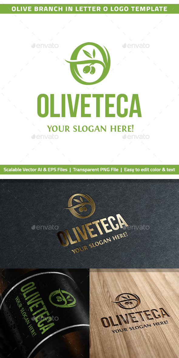 "Olive Branch in Letter ""O"" Logo Template - Nature Logo Templates"