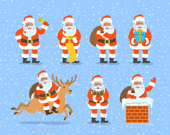 Santa Claus Character Poses Collection - Christmas Seasons/Holidays