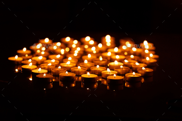 Burning candles with shallow depth of field - Stock Photo - Images