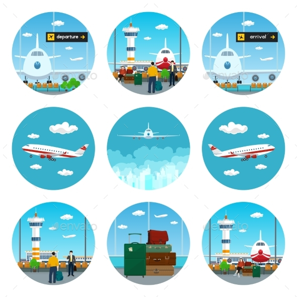 Set of Airport Icons - Travel Conceptual