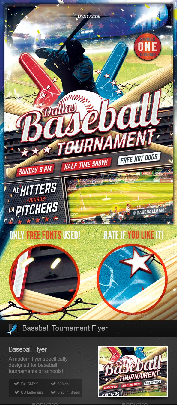 baseball tournament flyer template sports events