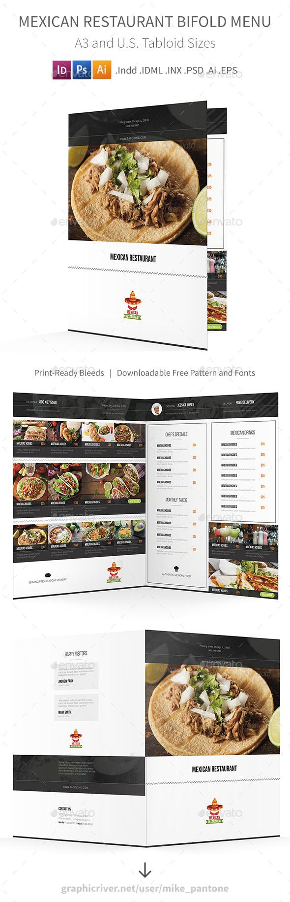 Mexican Restaurant Bifold / Halffold Brochure - Food Menus Print Templates