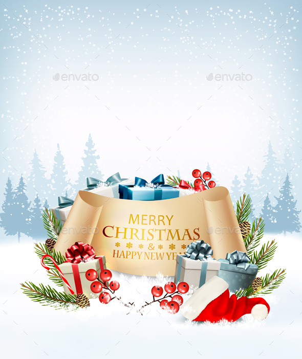 Holiday Christmas Background With A Gift Boxes Vector - Christmas Seasons/Holidays