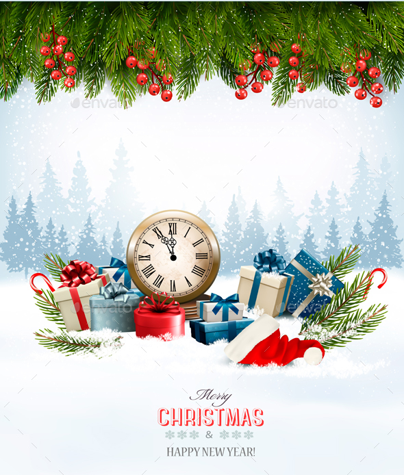 Holiday Christmas Background With A Gift Boxes - New Year Seasons/Holidays