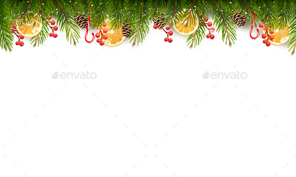 Holiday Background With A Christmas Tree Branches - Christmas Seasons/Holidays