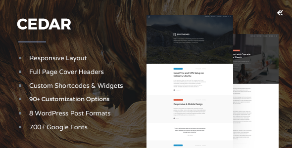 Cedar - Responsive WordPress Blog Theme - Personal Blog / Magazine