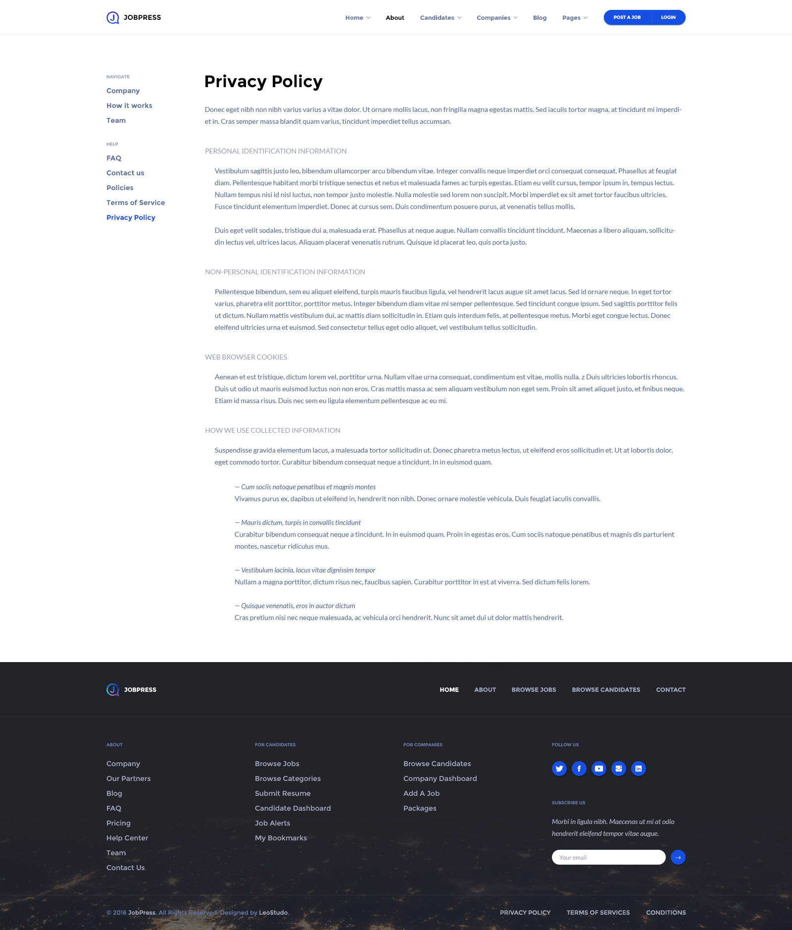 Job Board PSD Template JobPress By Leostudo ThemeForest - Ecommerce website privacy policy template