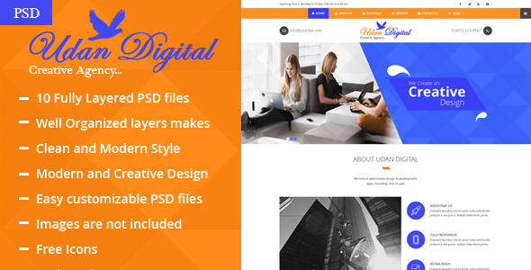 Udan Digital – Creative Agency PSD Template