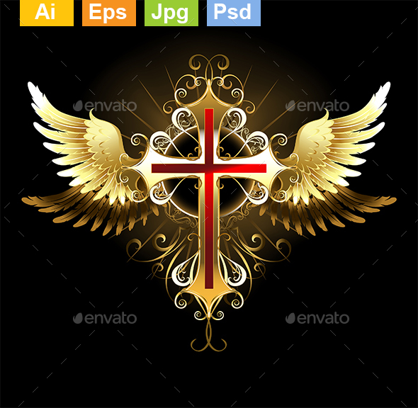 Cross with Golden Wings - Decorative Symbols Decorative