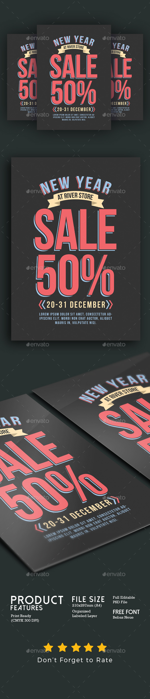 New Year Sale Flyer - Flyers Print Templates